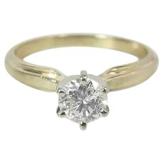 Maine Estate 14K Yellow Gold .44 Carat Diamond Solitaire Engagement Ring Sizable