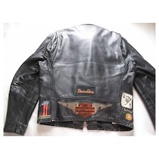 1960's Black Leather Cafe Racer Style Jacket With Lots Of Great Patches