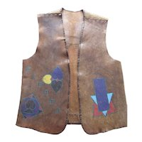 1960's Hand Made & Painted Leather Harley Davidson Motorcycle Club Vest