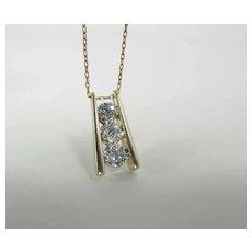 Glittering 14K Yellow Gold .5 Carat Diamond Cluster / Halo Pendant