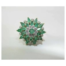 14K Gold 2.4 Carat Tiered Natural Emerald Cluster Ring W/ Diamond Accents