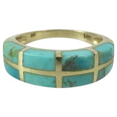 Fine Vintage 14K Yellow Gold Inlaid Turquoise Ring By Zuni Nathan Fred Jr.