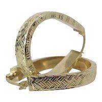 Vintage 1 1/8-Inch Long 14K Yellow Gold Latch-Back Oval Hoop Earrings