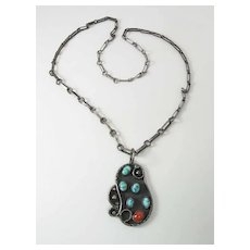 Vintage Navajo All Handmade Silver Turquoise & Coral Shadowbox Pendant Necklace