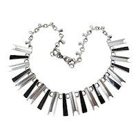 Vintage Mexican Silver Fringe Necklace W/ Vertebrae Links & Black Enamel