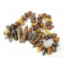 Organic & Exotic Graduated Natural Mixed Amber Necklace W/ Amber Barrel Clasp