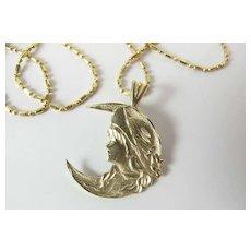 Vintage 14k Yellow Gold Art Nouveau Style Lady & Crescent Moon Pendant Necklace