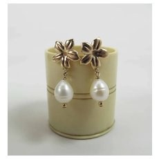 14k Yellow Gold Plumeria Flower & Pear Shaped Cultured Pearl Earrings