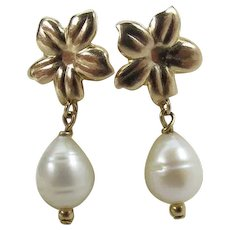 14k Yellow Gold Plumeria Flower & Pear Shaped Cultured Pearl Earrings