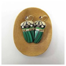 Vintage Enameled Sterling Silver Vermeil, Garnet, Malachite & Pearl Earrings