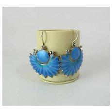Vintage Sterling Silver Vermeil Dangle Earrings With Kingfisher Blue Enamel