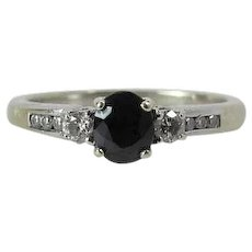 Vintage 14K White Gold Sapphire & Diamond Past Present Future Ring