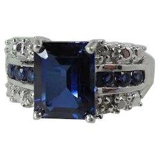 Vintage 10K White Gold 2.37 Carat Lab Sapphire & Diamond Ring Size 7, 4.0 Grams