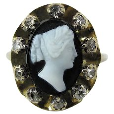 Antique Georgian Hard Stone Cameo And Rose Cut Diamond Ring Size 8.25