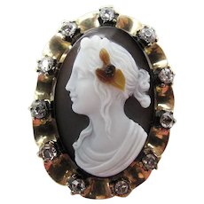 Antique Georgian Three Color Hard Stone Cameo And Rose Cut Diamond Brooch