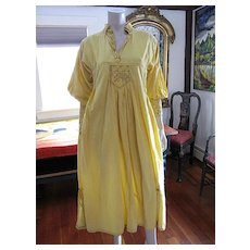 Joyful 1970's Vintage Embroidered Sunny Yellow Cotton Pakistan Label Maxi Dress