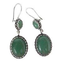 Vintage Sterling Silver & Aventurine Dangle Earrings 2 1/4 Inches Long