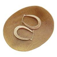 Greek Key Pattern 10K Yellow Gold 1 1/4-Inch Oval Hoop Latch Back Earrings
