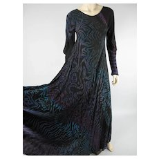 Graphic 1990's Vintage Carter & Teri Shibori Dyed Silk Dress In Larger Size
