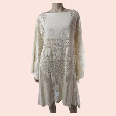 Joyful & Romantic 1970's All Lace Dress With Elegant Angel Sleeves Larger Size