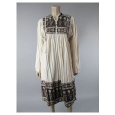 1960's Papy's Berkeley Block Printed Indian Cotton Dress With Brass Bead Tassels