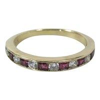 Art Deco 14K Gold Diamond & Ruby 1/2 Eternity Band W/ GIA Appraisal