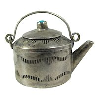 Vintage Miniature Sterling Silver Teapot With Turquoise Finial