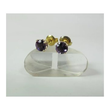Vintage 14K Yellow Gold Amethyst Stud Earrings