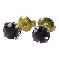 Vintage 14K Yellow Gold Amethyst Stud Earrings