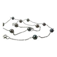 Lovely 14K White Gold 5.75 - 6-mm Aubergine Black Pearl Choker Necklace