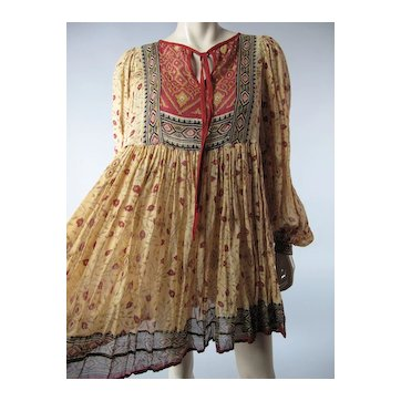 1960's Sheer & Gauzy India Print Cotton Dress