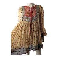 1960's Sheer & Gauzy India Print Cotton Dress