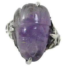 Antique Chinese Fine Silver & Figural Carved Amethyst Ring W/ Adjustable Shank