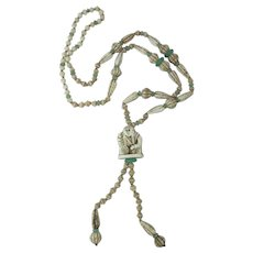 1920's Art Deco Era Max Nieger Style Figural Pendant Necklace 30-Inches Long