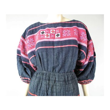 Colorful And Exotic Vintage Embroidered & Appliqued Hmong Two Piece Dress
