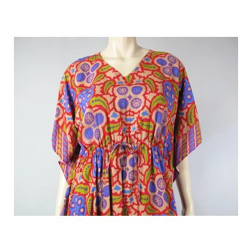 Colorful Vintage Toraja By Sarinah Indonesia Printed Rayon Blend Kaftan Dress