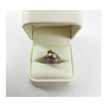 Luscious LeVian 10MM Chocolate Pearl & 2.4 Carat Chocolate Diamond Cocktail Ring