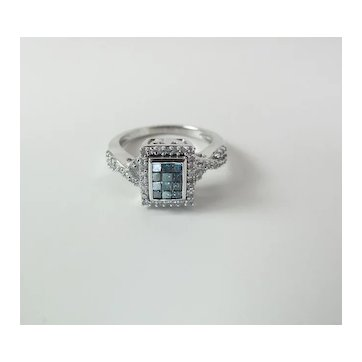 Vivid 10K White Gold .50 Carat Square Blue & Round White Diamond Cocktail Ring