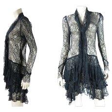 Flouncy 1920's Black All Lace Dress