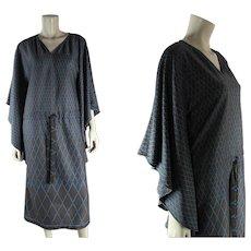 Dated 1977 Vintage Roberta Di Camerino Trompe L'oeil Caftan Jersey Dress