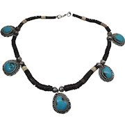 Vintage Heishi Necklace With Five Ingot Silver And Turquoise Pendants