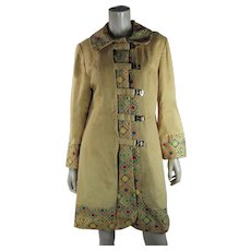 Wonderful Vintage 1960's Embroidered Coat With Toggle Closures