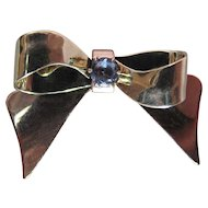 Vintage Retro Era 14K Yellow And Rose Gold Bow Pin With Blue Tourmaline