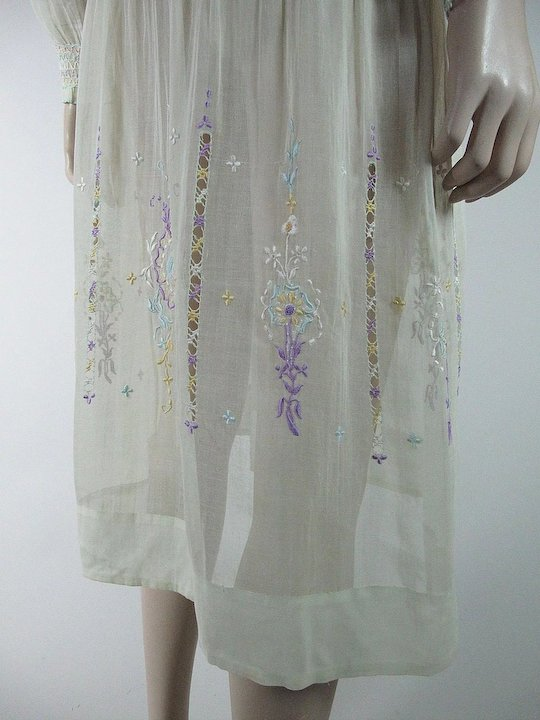 61a05daa395 1920's Vintage Hungarian Embroidered And Smocked Yellow Cotton Peasant Dress  In Larger Size