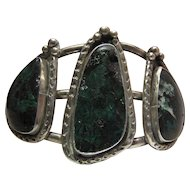 Vintage Navajo Sterling Silver And Chrysocolla Cuff Bracelet