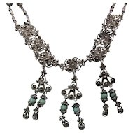 Exotic Antique Sterling Silver And Turquoise Festoon Necklace