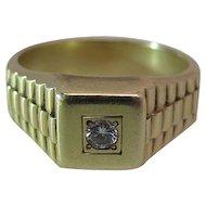 Retro Era Vintage 14K Gold Diamond Ring With Basketweave Shoulders Size 9 3/4