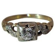 Art Deco Era 14K Yellow And White Gold Diamond Ring