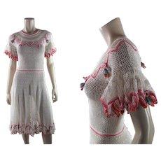 Flirty 1930's Vintage Crochet Lace Dress With Colorful Dangle Ornaments