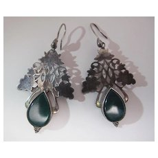 Elegant Vintage Sterling Silver And Chrysoprase French Wire Earrings 2 1/2-Inches Long